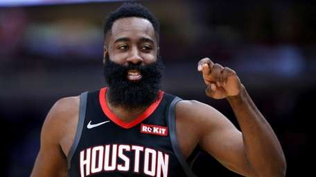 The Rockets' James Harden has a laugh during