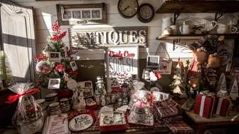 A Christmas display mix with vintage items at