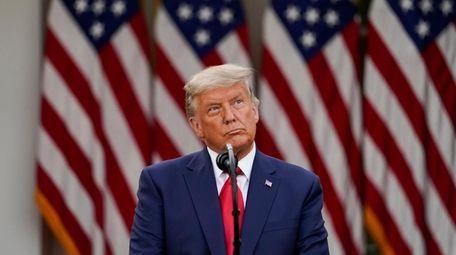 President Donald Trump speaks in the Rose Garden
