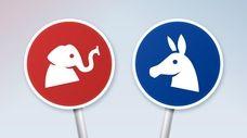 American political debate conflict signs.