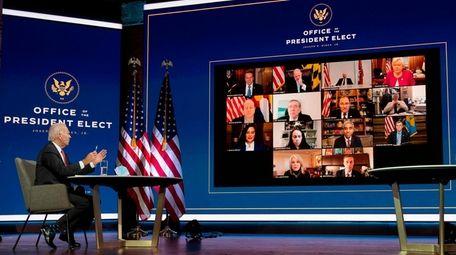 President-elect Joe Biden speaks virtually with the National