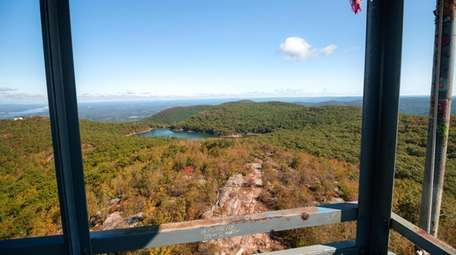 The view from inside a mountain fire tower