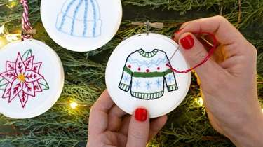 A embroidered ornament class will be held virtually