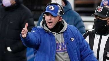 Giants head coach Joe Judge reacts on the