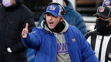 Giants head coach Joe Judge reacts on the