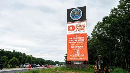 The 61-foot electronic billboard on Sunrise Highway in