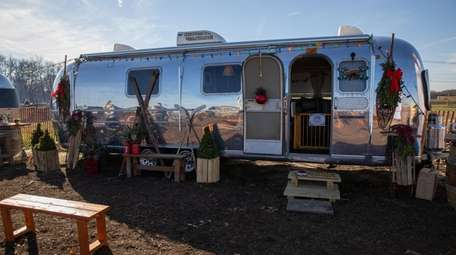A decorated Airstream trailer at Waterdrinker Family Farm