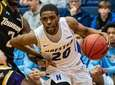 Hofstra guard Jalen Ray (20) drives on Towson