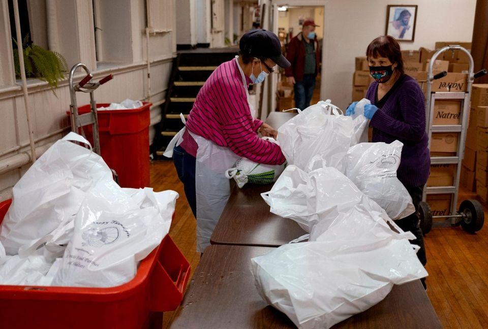 Turkeys are bagged inside St. John's Bread of