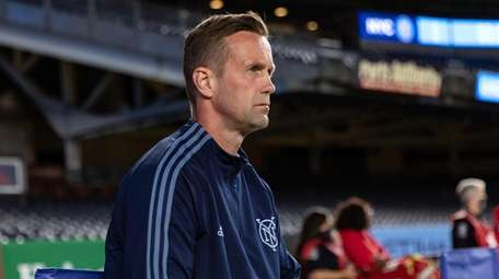 NYCFC head coach Ronny Deila looks on during