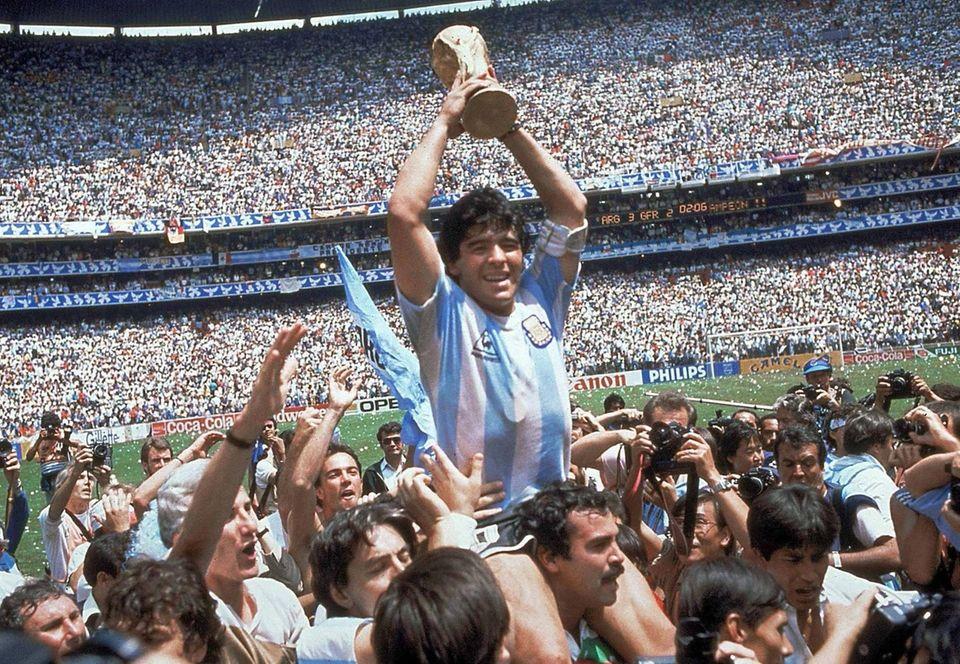 Diego Maradona of Argentina celebrates at the end