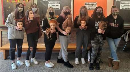 East Islip High School's cosmetology students created fall-inspired