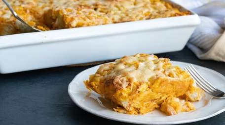 Savory bread pudding casserole made with roasted butternut