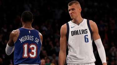 Kristaps Porzingis #6 of the Dallas Mavericks looks