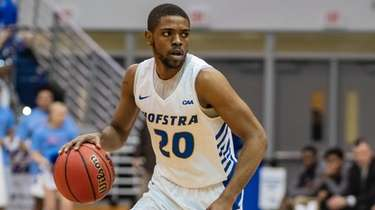 Hofstra guard Jalen Ray advances the ball during