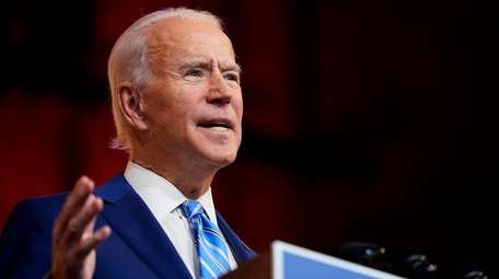 President-elect Joe Biden speaks Wednesday in Wilmington, Del.