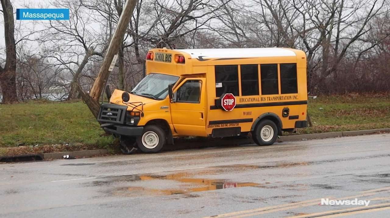 A school bus crashed on Merrick Road in