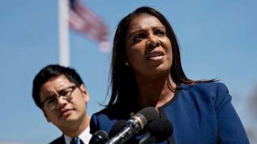 New York State Letitia James, right, with Dale