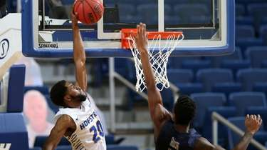 Hofstra guard Jalen Ray goes up for a