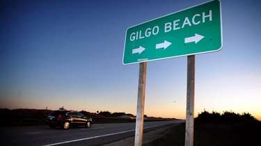 A Gilgo Beach sign along the westbound side