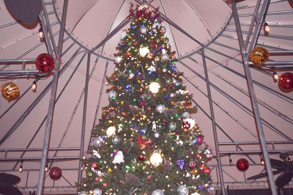 This 20-foot fire-retardant Christmas tree is annually raised