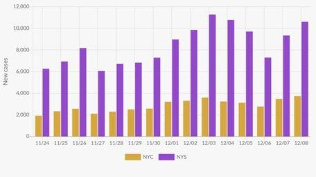 These bars show the number of new coronavirus