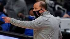 Knicks coach Tom Thibodeau gestures during the second