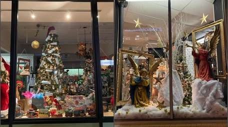 Christmas and holiday season window decorations are on