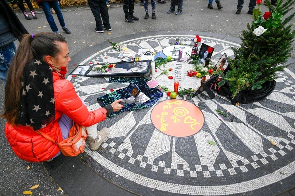 Fans of the late musician John Lennon gather