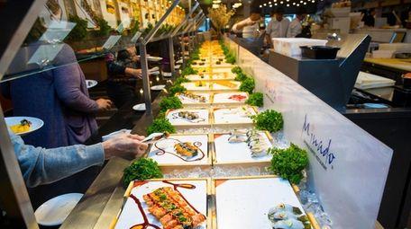 The sushi bar station at Minado Japanese Buffet