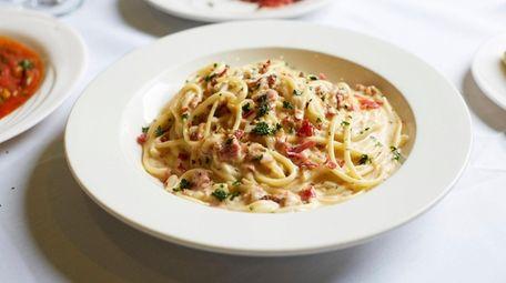 Spaghetti carbonara at Bravo Nader in Huntington.