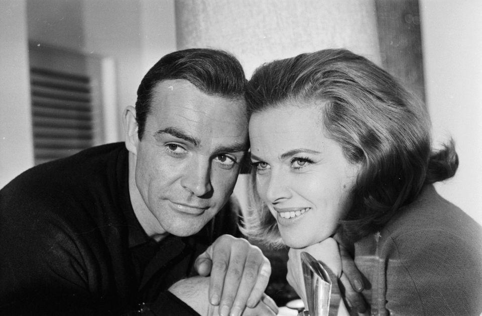 Portrait of James Bond actors Sean Connery and