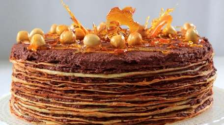 Crepe cake layered with chocolate hazelnut spread.