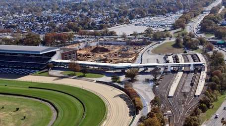 An aerial view of the Belmont Park LIRR