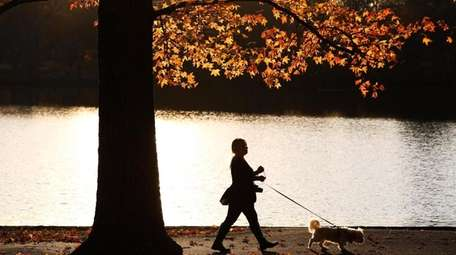 Maria Rodriguez of Bay Shore walks her dog