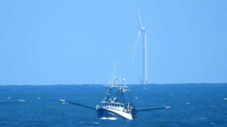 A Montauk commercial fishing trawler in Block Island