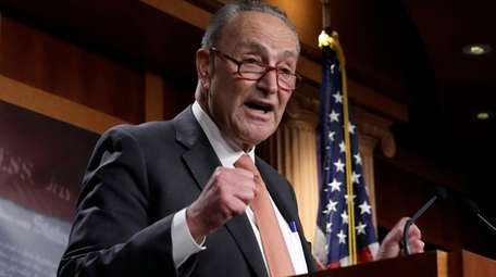 U.S. Senate Minority Leader Chuck Schumer speaks during