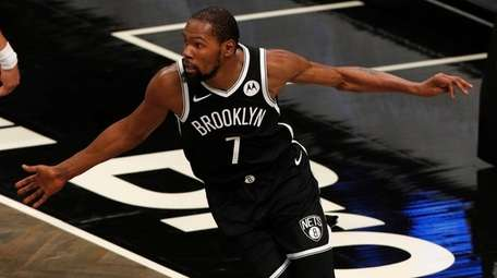 Kevin Durant of the Nets reacts after a