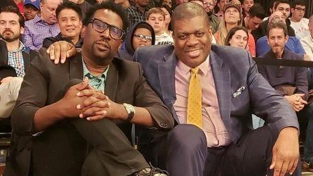 Former NBA player Bernard King, right, at a