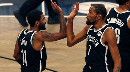 Kevin Durant #7 of the Brooklyn Nets celebrates