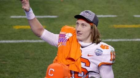 Trevor Lawrence  of the Clemson Tigers acknowledges