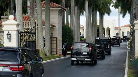 President Donald Trump's motorcade arrives at Trump International