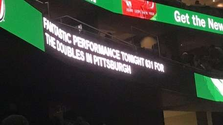 Closed captioning at the Prudential Center during a