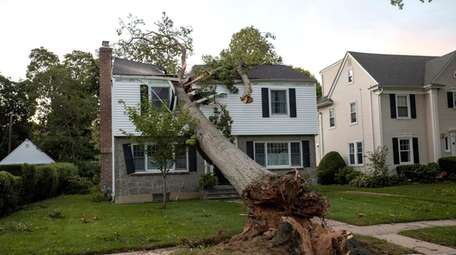 A tree splits the upper level of this