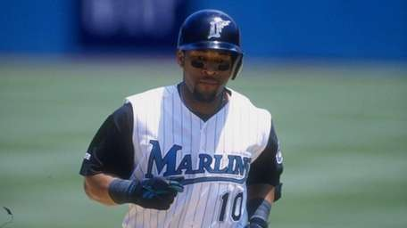 Gary Sheffield of the Florida Marlins in action