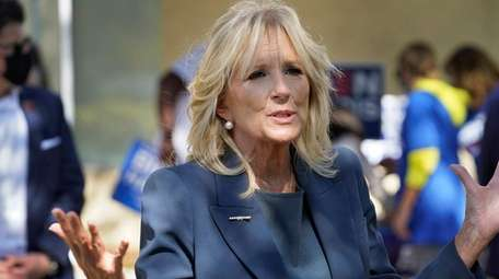 First lady-to-be Jill Biden speaks to reporters during