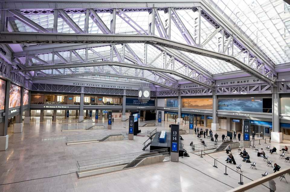 Views of the Moynihan Train Hall during a