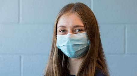 Regeneron semifinalist Julia Levine, 17, poses for a