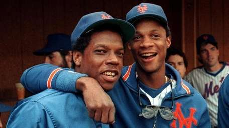 The Mets' Dwight Gooden and  Darryl Strawberry