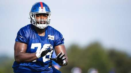 Andrew Thomas during Giants training camp on Aug.